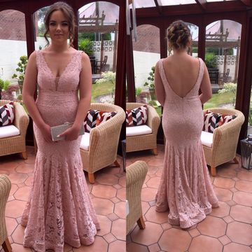 Long Prom Dresses 2018 Mermaid V-Neck Sleeveless Lace Sexy Plus Size