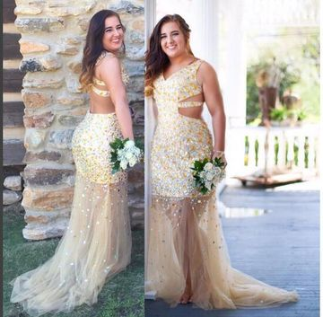 Long Prom Dresses 2018 Mermaid V-Neck Sleeveless Open Back Plus Size
