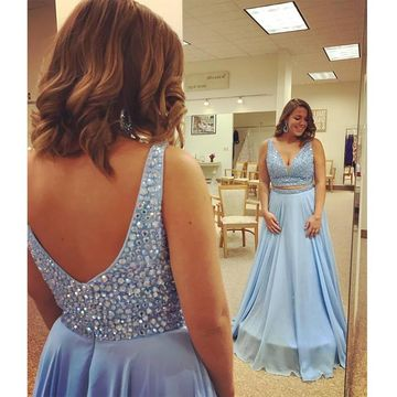 Long Prom Dresses 2018 A-line V-Neck Sleeveless Chiffon Plus Size Two Piece