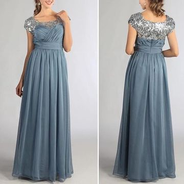 49%OFF Square Neck Short Sleeves A-line Chiffon Modest Prom Dresses ...
