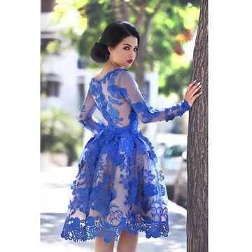 Short Prom Dresses 2018 A-line Long Sleeves