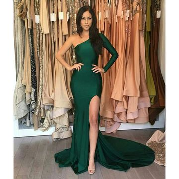 Green Long Prom Dresses 2018 Mermaid One Shoulder Sexy