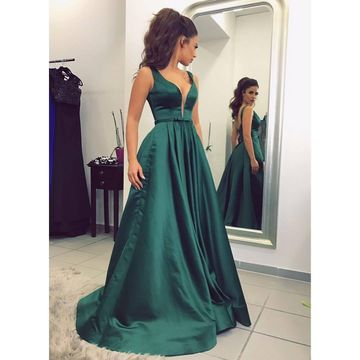 Green Long Prom Dresses 2018 A-line V-Neck Sleeveless Sexy