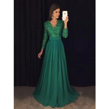 Green Long Prom Dresses 2019 A-line Modest