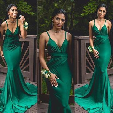 Green Long Prom Dresses 2018 Mermaid Sleeveless Open Back Sexy