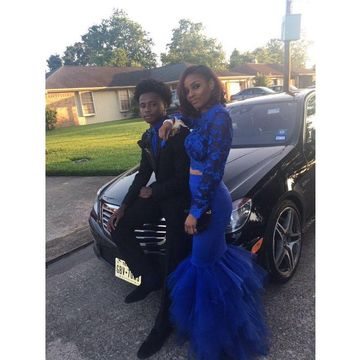 Blue Long Sleeves Appliques Mermaid Two Piece Prom Dresses 2018 African