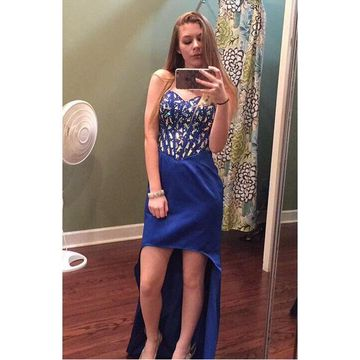 Blue Crystal Sweetheart High Low Prom Dresses 2018