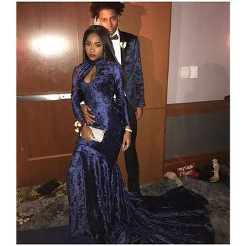 49off Dark Navy Long Sleeves Mermaid Velvet Prom Dresses 2018