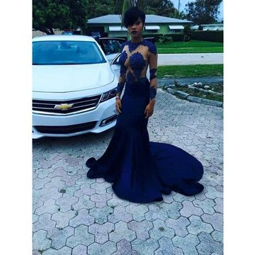 Black Round Neck Appliques Long Sleeves Mermaid Prom Dresses 2018 African