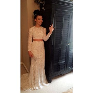 49%OFF Elegant White Mermaid Long Sleeves Prom Dresses 2018 Lace Two ...