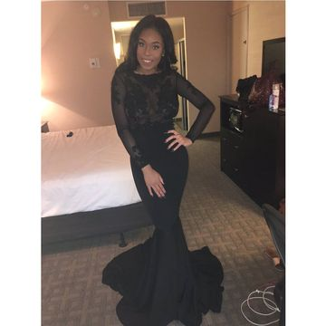Cheap Black Mermaid Long Sleeves Backless Appliques Prom Dresses 2018 Open Back Sexy African