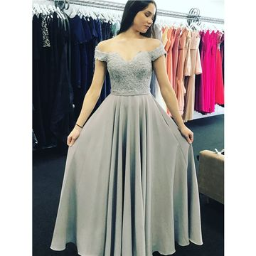Grey Off the Shoulder Appliques A-line Chiffon Prom Dresses 2018 Sleeveless