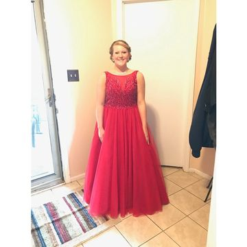 Red Plus Size Prom Dresses 2018 A-line Sleeveless