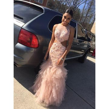 Pink Lace Tulle Prom Dresses 2018 Mermaid Sleeveless African