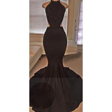 Long Sexy Black Mermaid Halter Sleeveless Backless Beading Prom Dresses 2018 Open Back