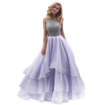 Long Elegant Ball Gown Straps Sleeveless Beading Prom Dresses 2018