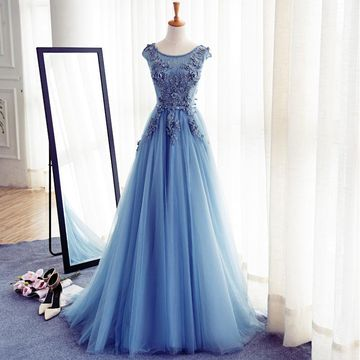 Long Elegant Blue A-line Capped Sleeves Corset Appliques Prom Dresses 2018