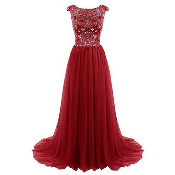 Long Junior Red A-line Capped Sleeves Zipper Crystal Detailing Prom Dresses 2018 Chiffon