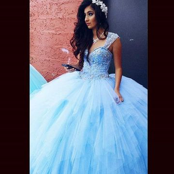 Sexy Blue Ball Gown Queen Anne Sleeveless Corset Beading Prom Dresses 2018