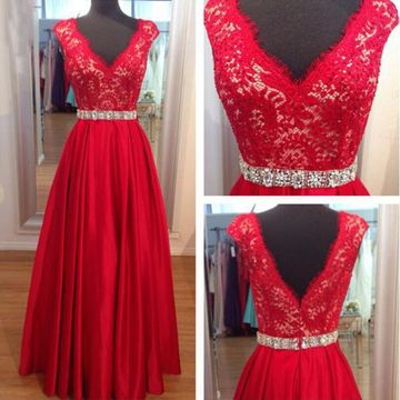 Long Sexy Red A-line V-Neck Sleeveless Zipper Prom Dresses 2018 Lace