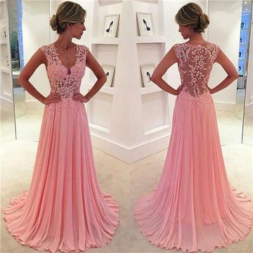 Long A-line V-Neck Sleeveless Zipper Appliques Prom Dresses 2018 Chiffon