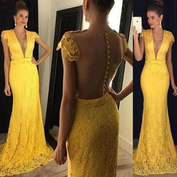 Long Sexy Yellow Mermaid V-Neck Capped Sleeves Zipper Appliques Prom Dresses 2018 Lace