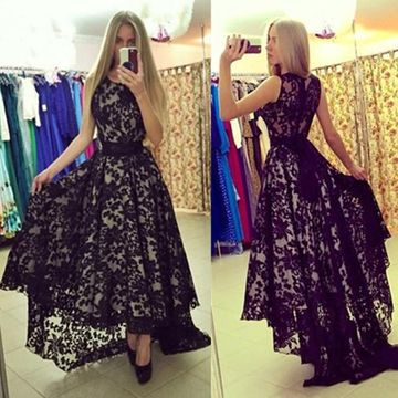 Long Black A-line Round Neck Sleeveless Zipper Lace Prom Dresses 2019