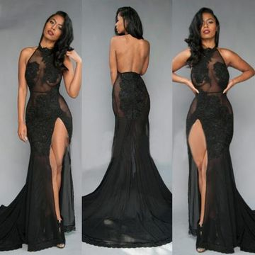 Long Black Mermaid Halter Sleeveless Backless Appliques Prom Dresses 2018 Open Back