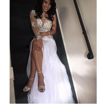 White Sexy Long Sleeves Split Front Illusion Prom Dresses 2018 Chiffon African