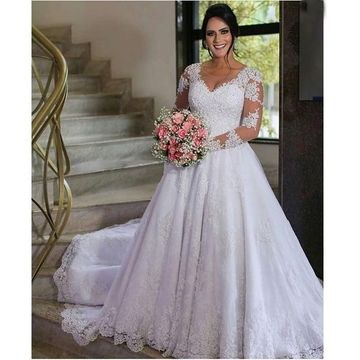 Long Wedding Dresses 2018 A-line V-Neck Long Sleeves Plus Size