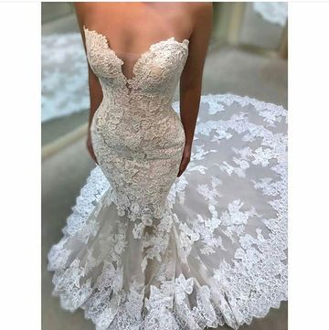 Long Wedding Dresses 2019 Mermaid Sleeveless