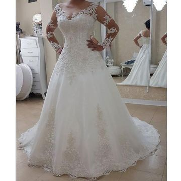 Long Wedding Dresses 2018 A-line Long Sleeves Plus Size