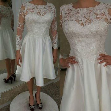 Short Wedding Dresses 2018 A-line Long Sleeves