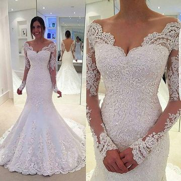 Long Wedding Dresses 2018 Mermaid V-Neck Long Sleeves Lace