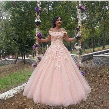 Pink Long Prom Dresses 2018 Ball Gown