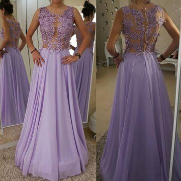 Grape Long Prom Dresses 2018 A-line Sleeveless Chiffon