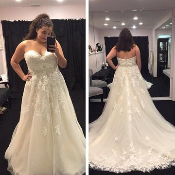 Long Wedding Dresses 2018 A-line Sleeveless Plus Size