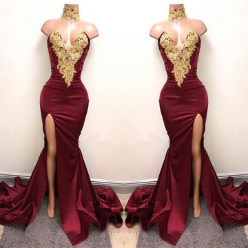 Long Burgundy Mermaid Sweetheart Sleeveless Zipper Appliques Prom Dresses 2019
