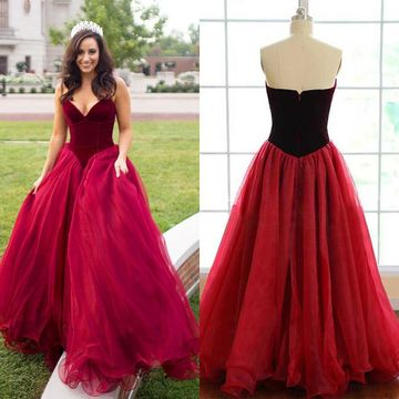 49 Off Long Sexy Red Ball Gown V Neck Sleeveless Zipper