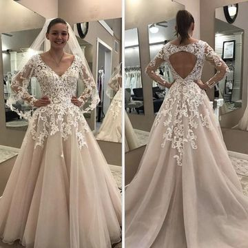 Wedding Dresses 2018 A-line V-Neck Long Sleeves Lace