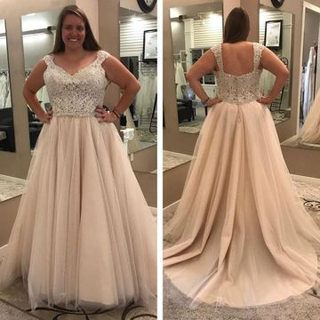 Long Wedding Dresses 2018 A-line Lace Plus Size