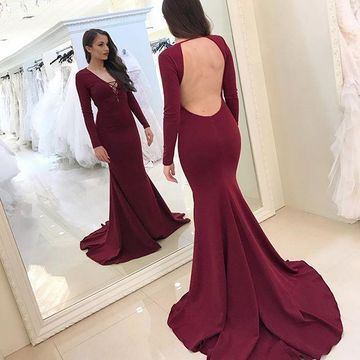 49%OFF Burgundy Long Prom Dresses 2019 Mermaid V-Neck Long Sleeves ...