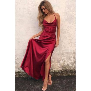 Red Long Prom Dresses 2018 A-line Sleeveless Open Back