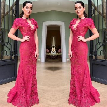Pink Long Prom Dresses 2018 Mermaid Lace