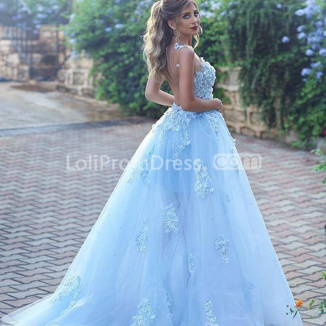 Blue Wedding Dresses 2019: 49%OFF Blue Long Prom Dresses 2019 A-line Sleeveless