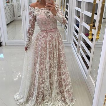 Long Prom Dresses 2018 A-line Long Sleeves Lace