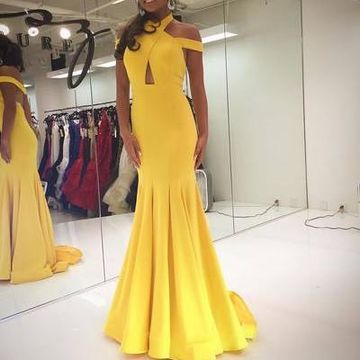 Yellow Off the Shoulder Mermaid Prom Dresses 2018
