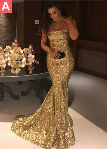 49%OFF Gold Sequin Long Prom Dresses 2018 Mermaid Strapless ...