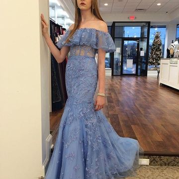 Blue Long Prom Dresses 2019 Mermaid Lace
