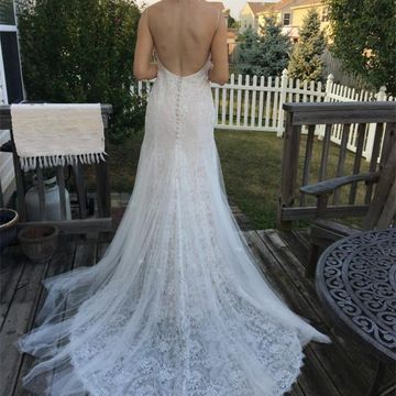 Long Wedding Dresses 2018 V-Neck Open Back Lace